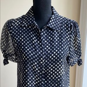 Theory black and white polka dot sheer button down